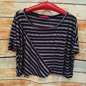 Julie's Closet Brand Blue/Black Striped Crop Top L